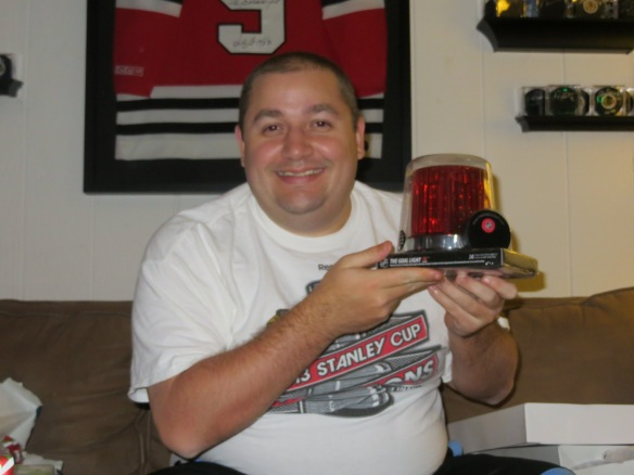 Ray got a Blackhawks goal light with the horn!