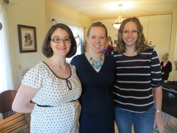 At Kim's baby shower! From left to right: Andrea, Kim, and me