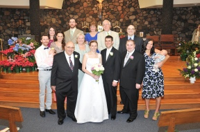 A group family photo at our wedding.